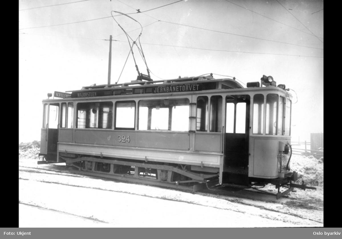 Sporvogn i rute mellom Jernbanetorget og Majorstuen