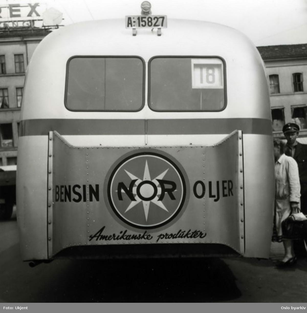 Oslo Sporveier, Busslinje 18 til Bjølsen med reklame for NOR.