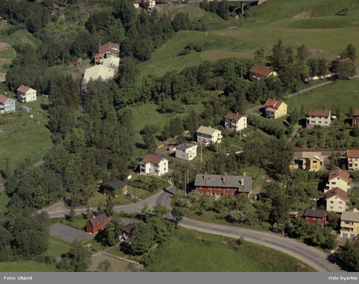 Grorudveien, Rasmusbakken. Shoddyfabrikken ved Alna. I front menighetshuset Heimdal. I bakgrunnen Grorud Prestegård. (Flyfoto)