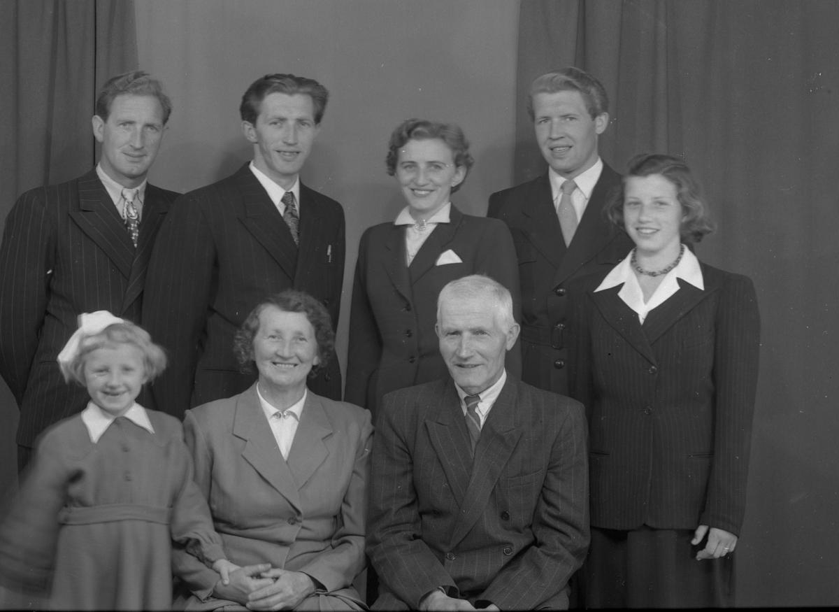 Familiegruppe,jakke,kjole Framme frå v.Gerd Ødegård,Kari Dekko Ødegård,Knut og Ambjør Ødegård. Bak frå v.Alfred,Asle,Marie og Arne Ødegård.