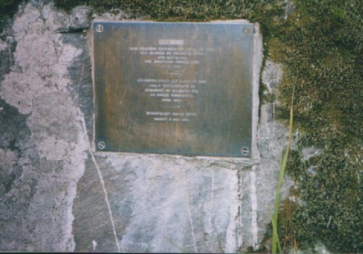 Messingplate montert på berget ved den ene geværstillingen.