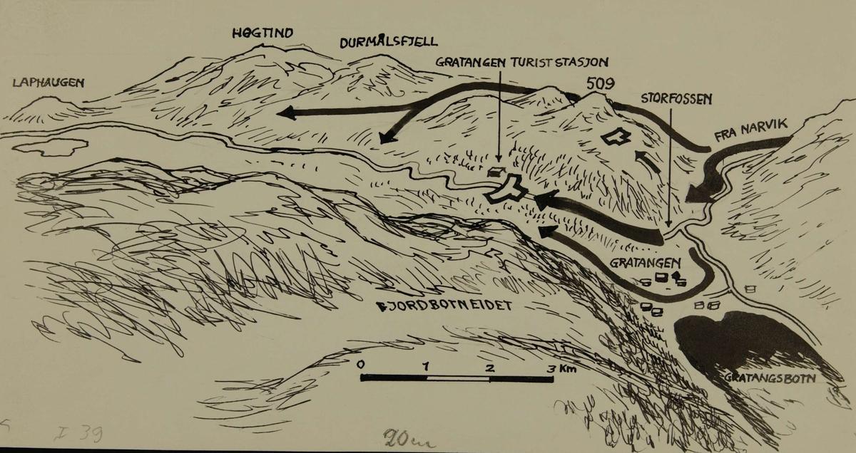 kart gratangen Strategisk kart over området Lapphaugen   Gratangen.   Forsvarets  kart gratangen