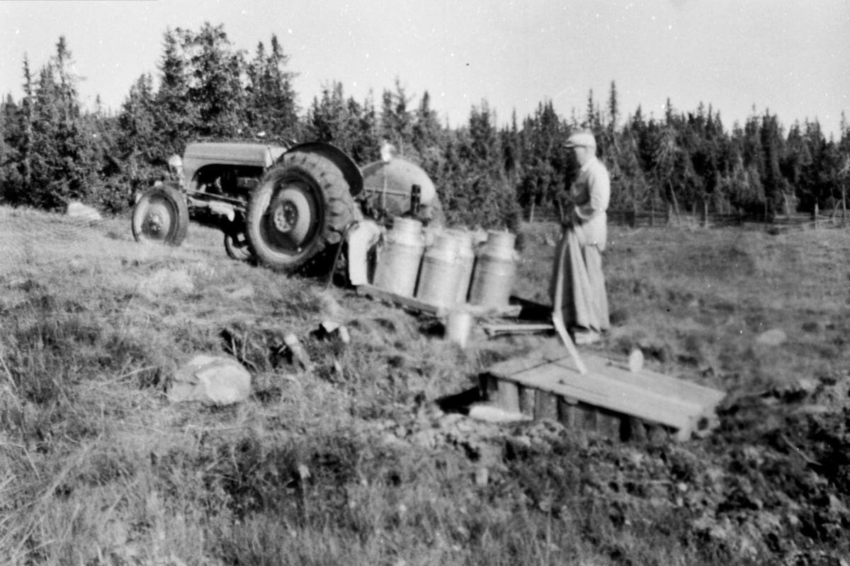 Traktortransport av melk til avkjølingskum på Moste seter i Almenningen. Erik Jevne fra Leine østre kjører. Traktoren ble også brukt til vakumpumpe til melkemaskinen.