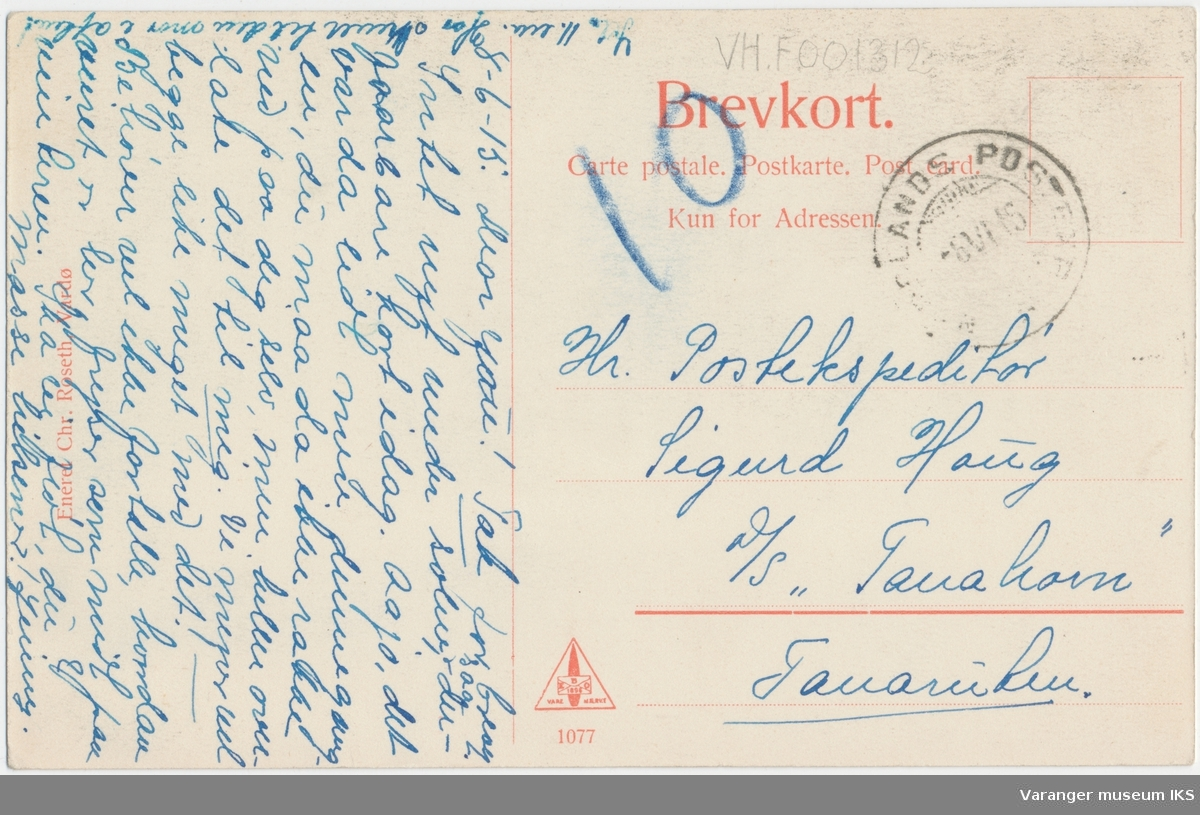Postkort, Kongeporten, Vardøhus Festning, sett fra Festningsgata