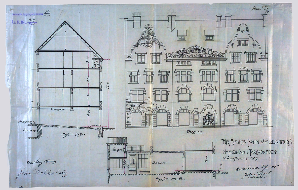 Hr. Bager John Walderhaugs nybygning i Toldbodgaden. [Fasadeoppriss]