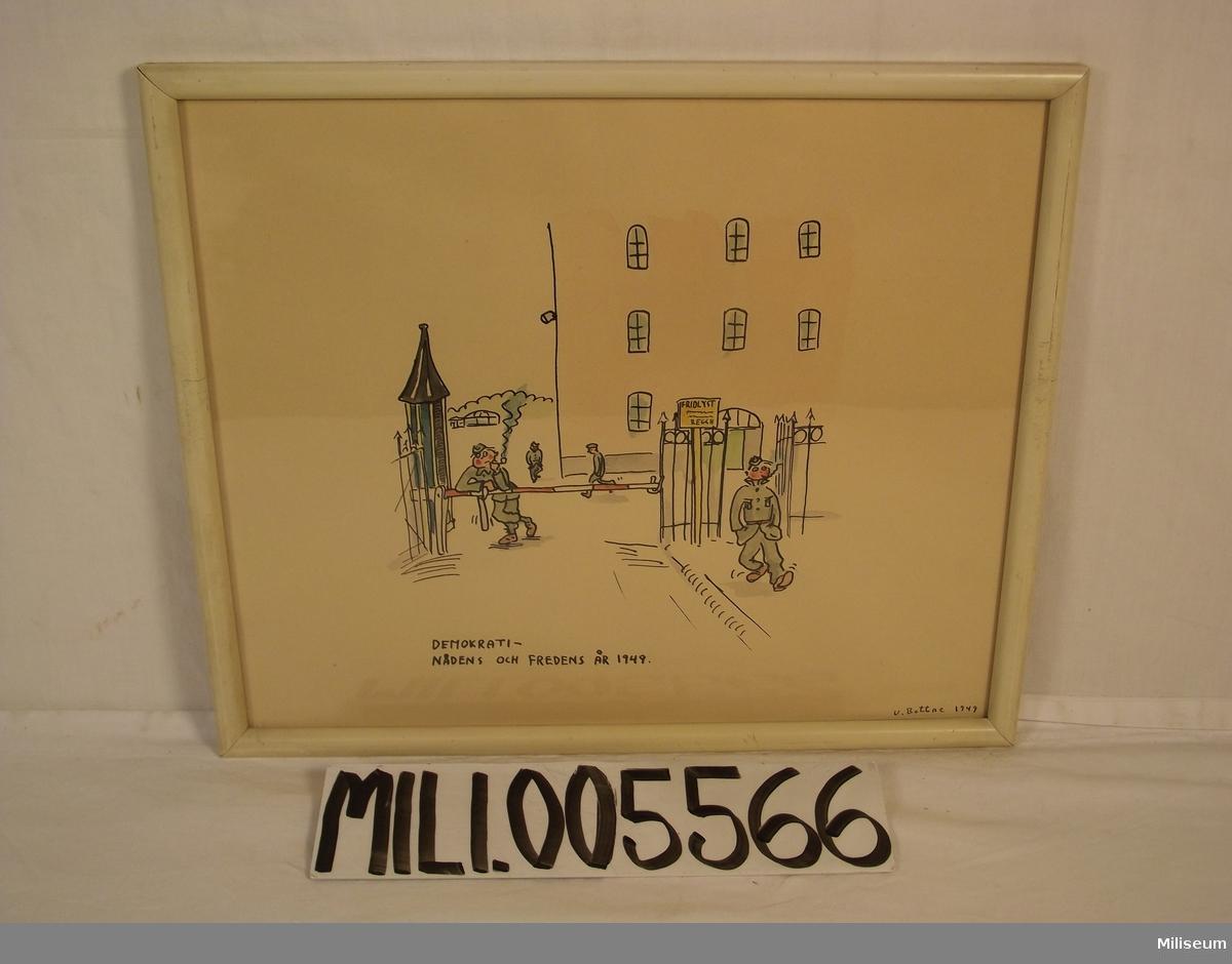 """Akvarell """"Demokrati - Nådens och fredens år 1949""""  Se notering på baksidan."""