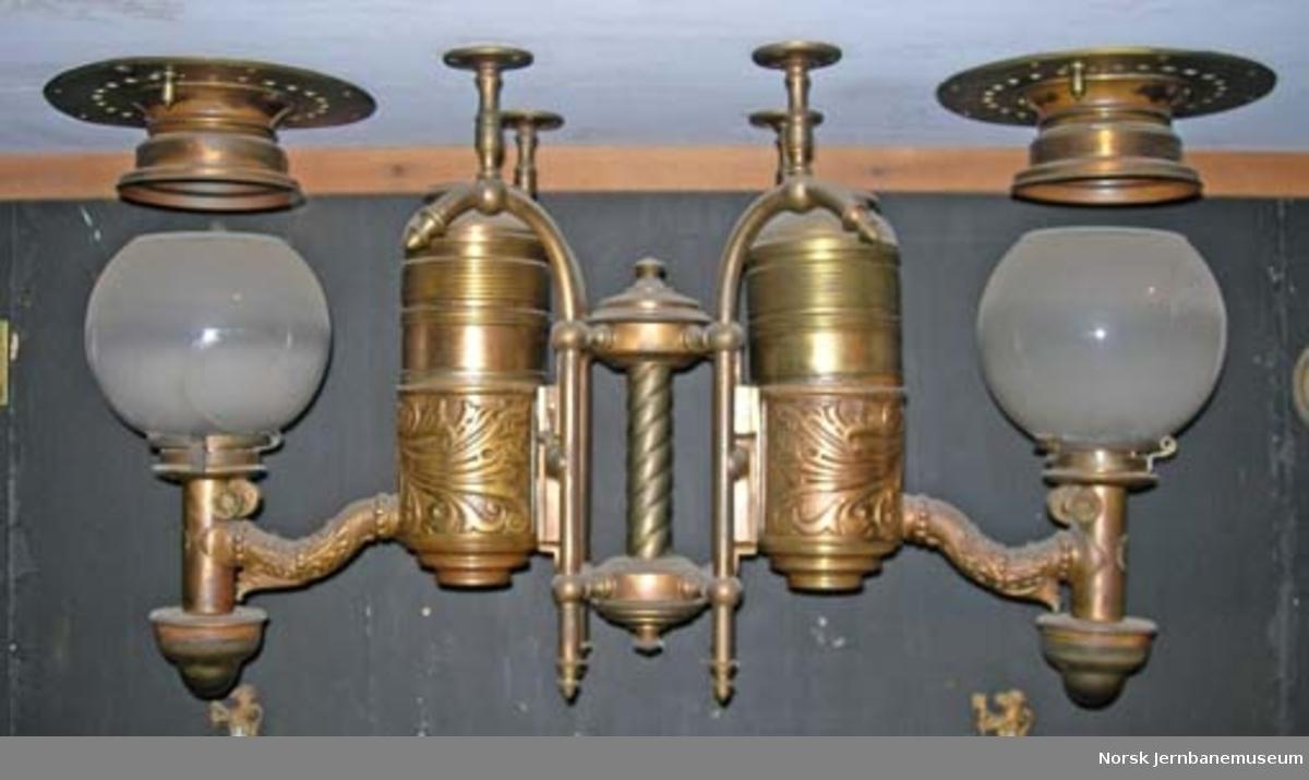 Belysningsutstyr fra Rørosbanens kongevogn, sovevogn litra Ao nr. 213