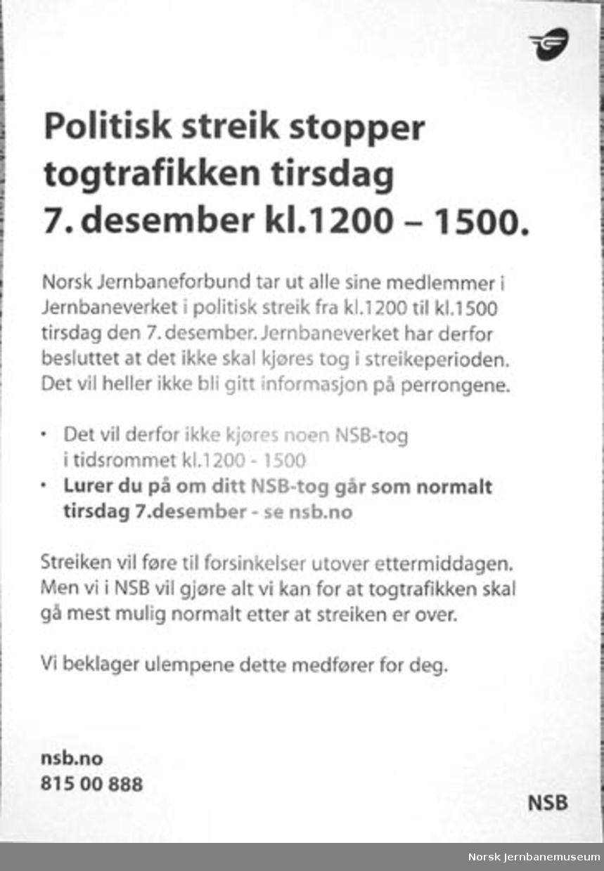 Plakat : Politisk streik stopper togtrafikken tirsdag 7. desember kl. 1200 - 1500.