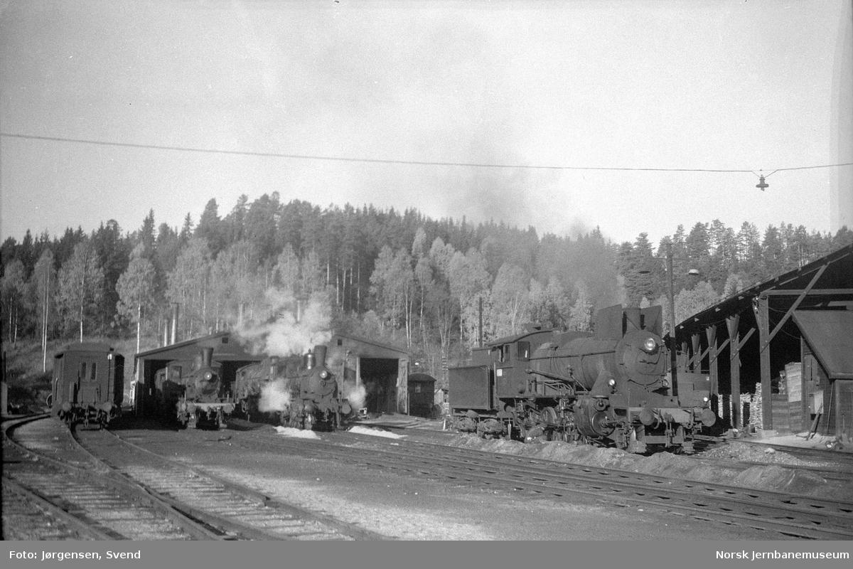 Damplokomotiver på Hønefoss stasjon