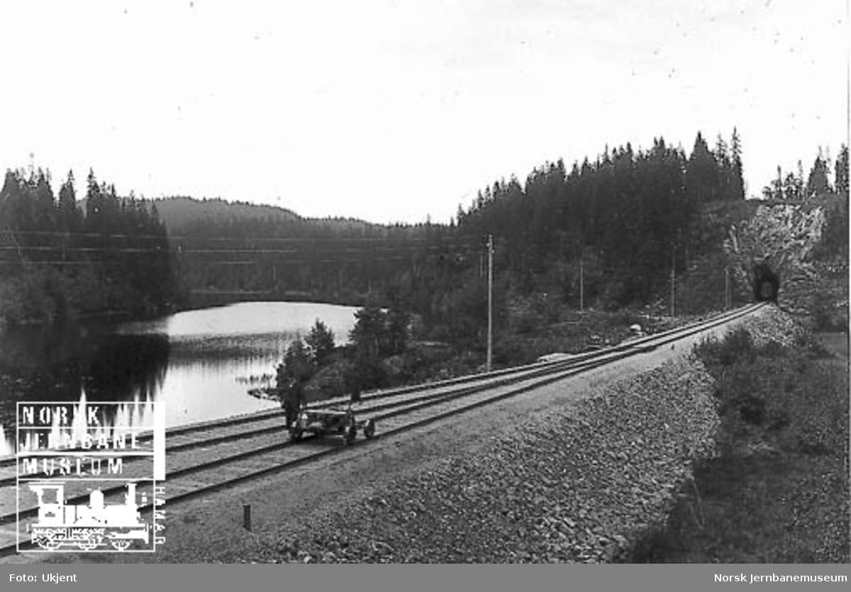 En mann ved siden av en firehjuls motortralle (prøvetur?) på Movatn stasjon