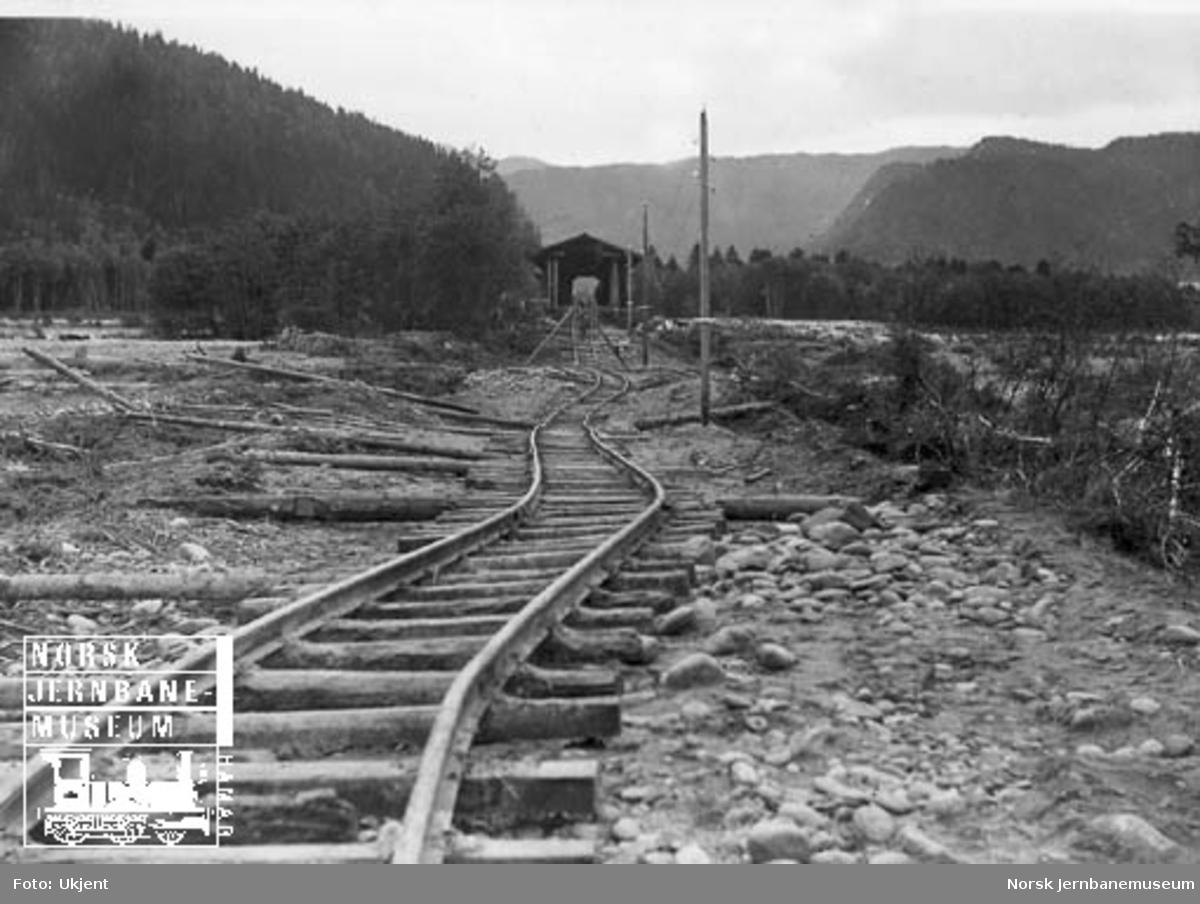 Ødelagt spor ved brua over Gaula, sett nordfra