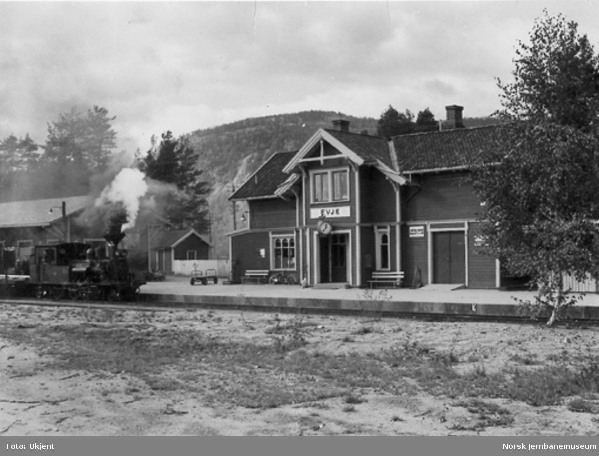 Evje stasjon med damplokomotiv nr. 2 i spor 1