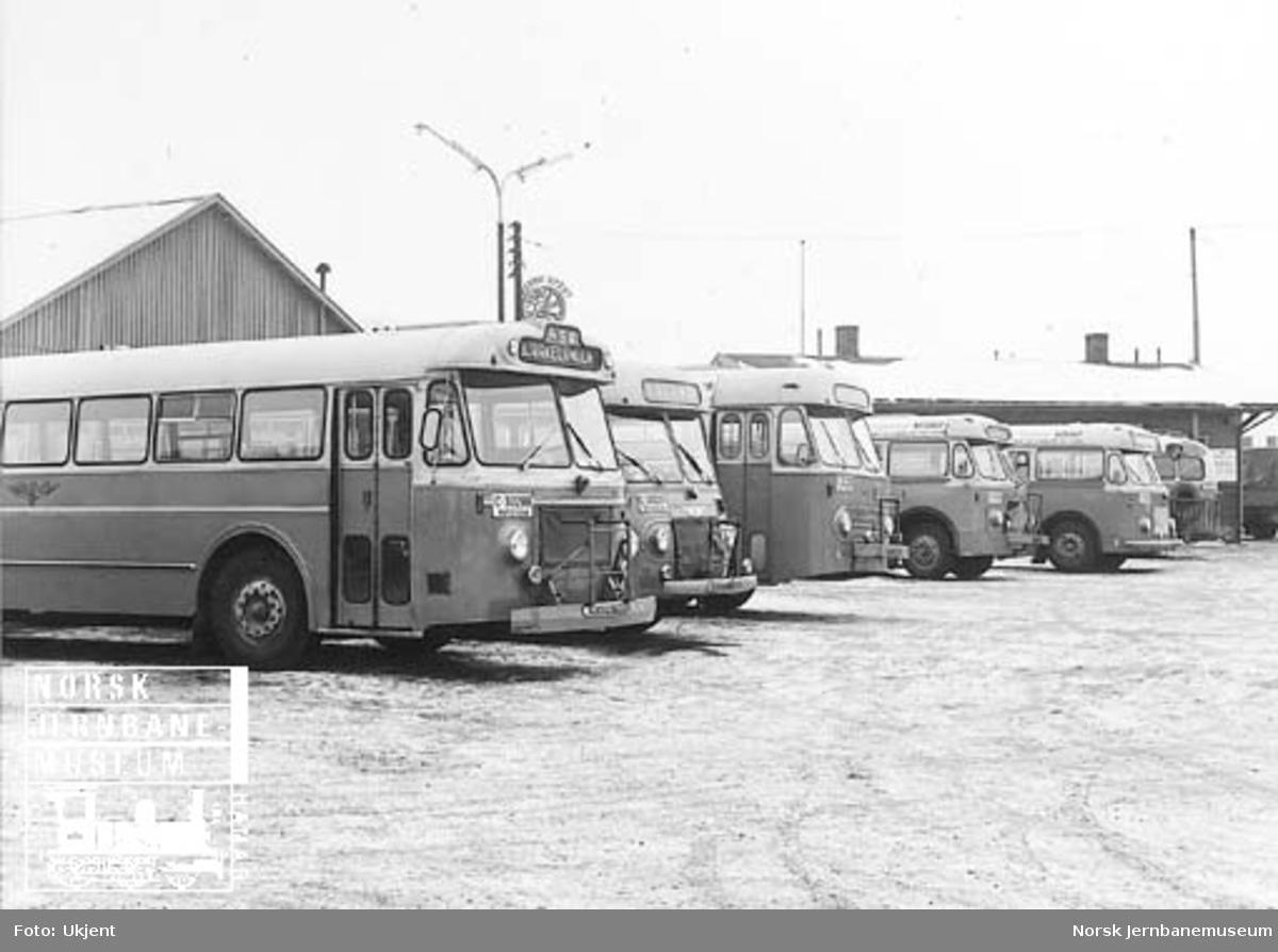 Busser fra NSB Hølandsrutene oppstilt på Bjørkelangen