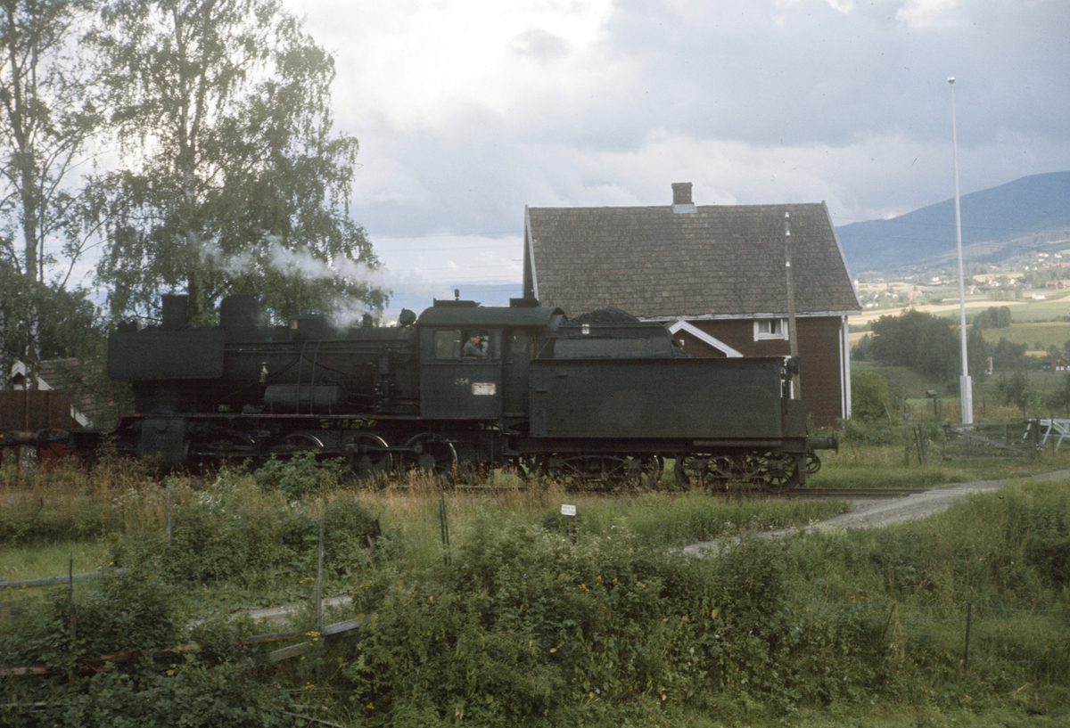 Godstog underveis på Skreiabanen. Damplok type 24b nr. 264.