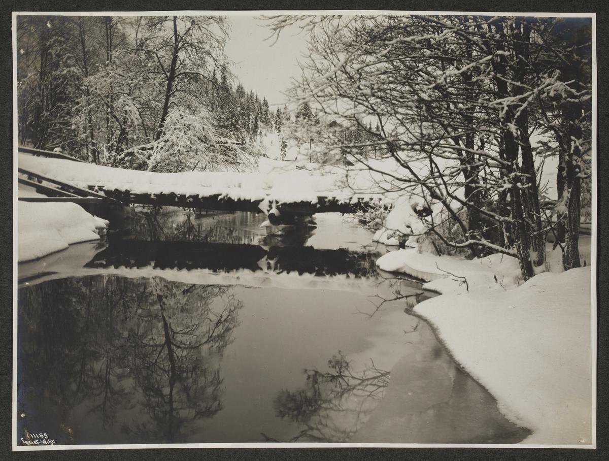 Svart-hvitt fotografier montert i innbundet album med vinrøde permer. Gullfarget innskrift på rygg.