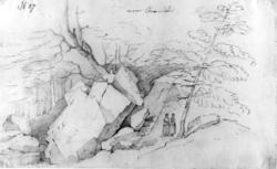 """Arendal omegn, Aust-Agder,Fra skissealbum av John W. Edy, """""""