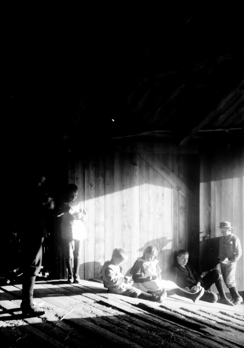 Gruppe barn på låvebrua, prestegården i Hurum. Fra v. Kristofer, Christian L. og  Emily Holm, Olaf Bull  og Olaf L. Holm. Holm-barna er barn av sokneprest i Hurum 1897-1904, Olaf A. Holm, g. med fotografens søster Louise. Fra malerinne Juliane Fredrikke Langbergs (1856-1930) samling, tatt ca.1895-1910 med motivkrets slekt og venner samt steder tilknyttet samvær med disse.