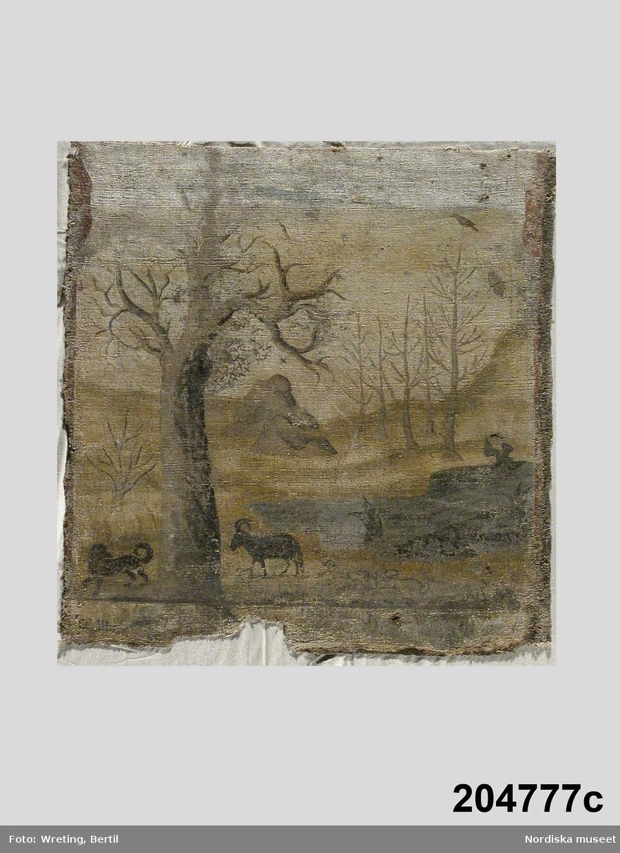 """Huvudliggaren: """"Målningar, 12 bitar, på säckväv, jaktscener m.m. från Bjelkogård, Heda sn, Östra hd, Småland."""""""