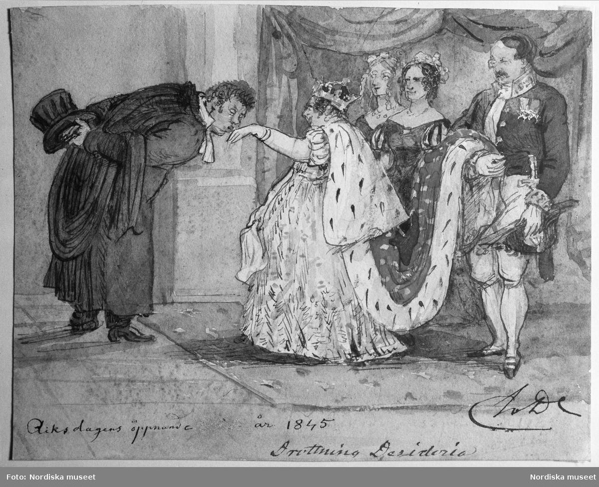 """Fritz von Dardel: """"Drottning Desideria vid riksdagens öppnande 1845""""."""