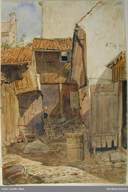 """Akvarell av A T Gellerstedt. """"Bakgård vid Riddargatan 1867."""""""