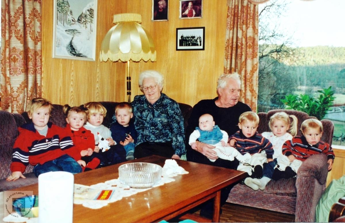 Besøk hos Oldemor og oldefar Handeland på Smedsland i Audnedal.