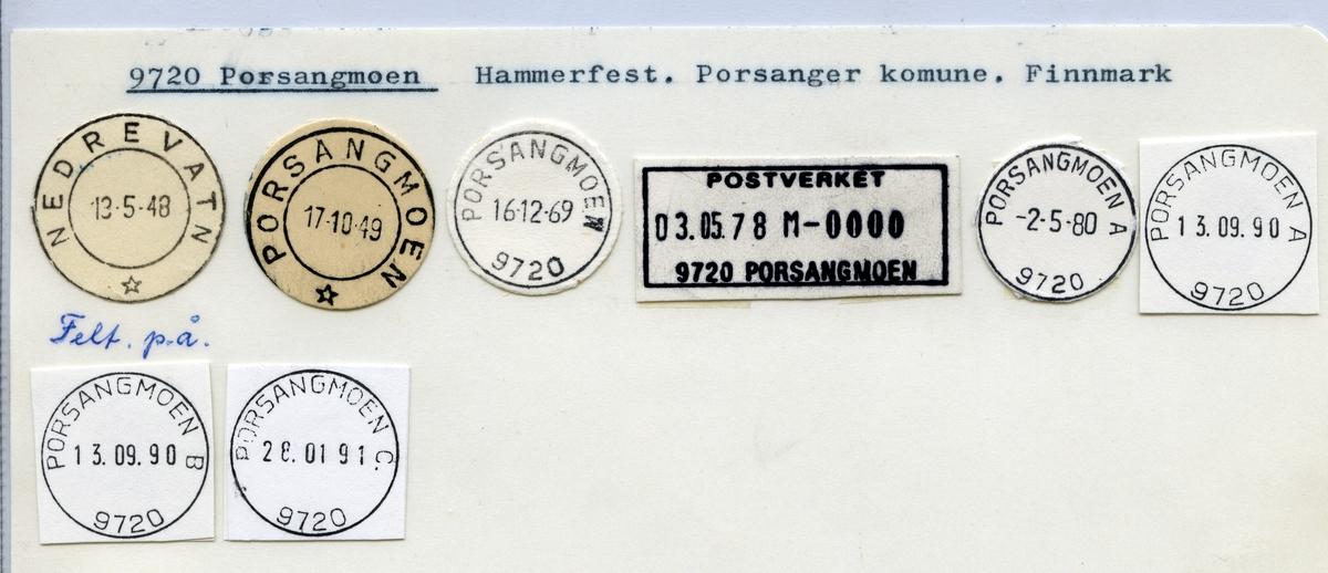 Stempelkatalog 9720 Porsangmoen (Nedrevatn), Hammerfest, Porsanger, Finnmark