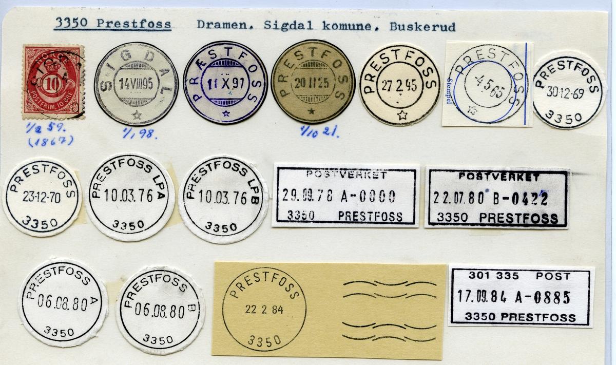 Stempelkatalog 3350 Prestfoss (Sigdal, Præstfoss) Drammen, Sigdal, Buskerud
