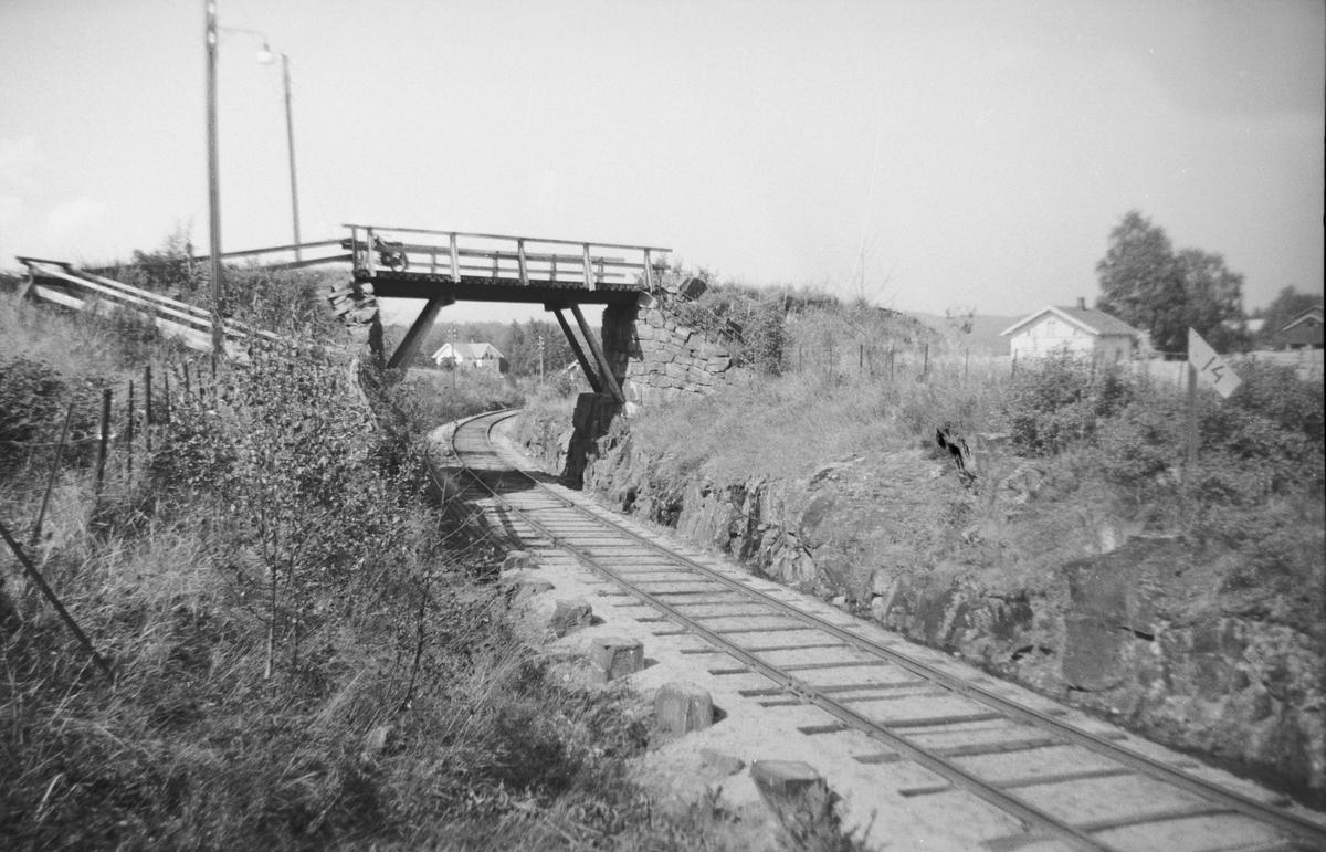 Ved tidligere Hære holdeplass på Krøderbanen, km 100,89. Veien over broen fører til Modum bad. Holdeplassen ble anlagt i 1873 for å betjene denne institusjonen. På bildet sees fundamentene til plattformen.
