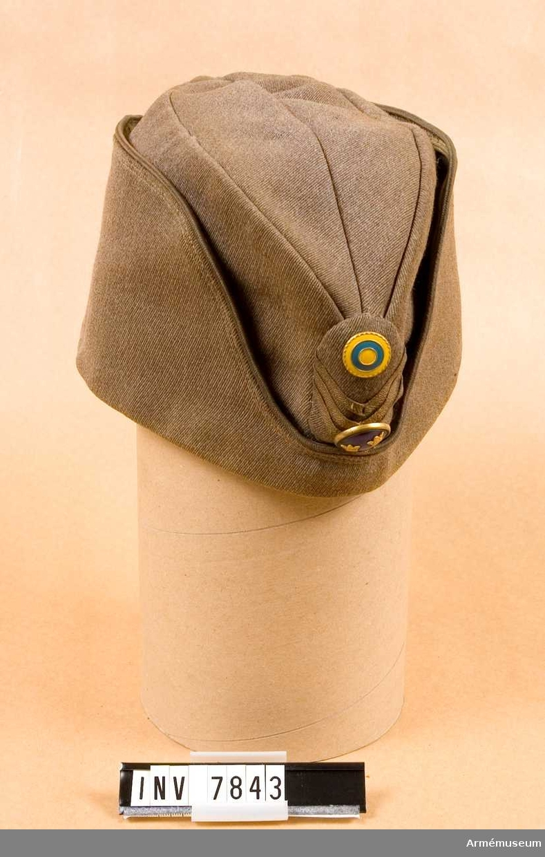 Permissionsmössa m/1939 med mössmärke m/1946. Storlek 58. Höjd 125 mm. Längd 290 mm. Vikt 150 g. Färg gråbrungrön. Tillverkas i enlighet med fältmössa men är något högre modell och med foder. Tillverkad i samma tyg som vapenrocken och har framtill ett elipsformat märke. Officer har blåemaljerad knapp m/1865, nationalitetsmärke m/1941 och gradbeteckning i form av tre smala galoner i bronsfärg vinkelformade. Gott skick 211. Smutsig, i behov av tvätt. Se Svenska försvarets mössmärken s 17 och Uniformsbestämmelser för armén 1946 s 15.
