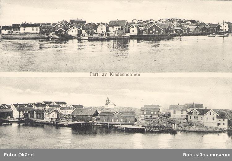 """Tryckt text på kortet: """"Parti av Klädesholmen""""."""