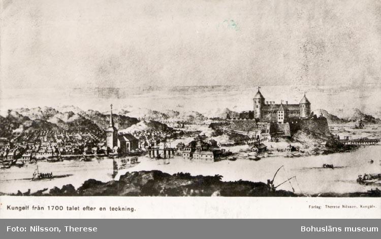 """Tryckt text på kortet: """"Kungelf från 1700 talet efter en teckning""""."""