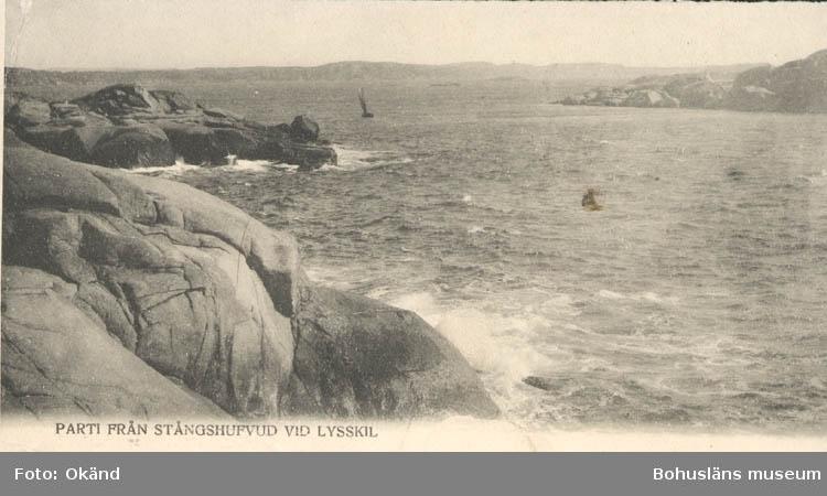 """Tryckt text på kortet: """"Parti från Stångshufvud vid Lysskil."""" """"Carl Nilssons Ljustrycksanstalt, Stockholm."""""""