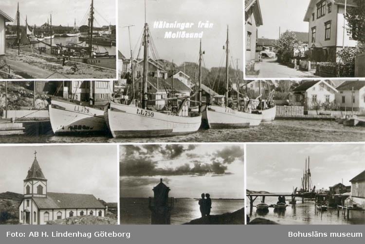 """Tryckt text på kortet: """"Hälsning från Mollösund."""" """"Förlag: Firma H. Lindenhag, Göteborg."""""""