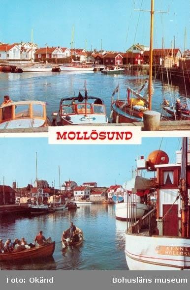"""Tryckt text på kortet: """"Mollösund."""" Förlag: """"R- Foto Åke Rask AB. Strömstad."""""""