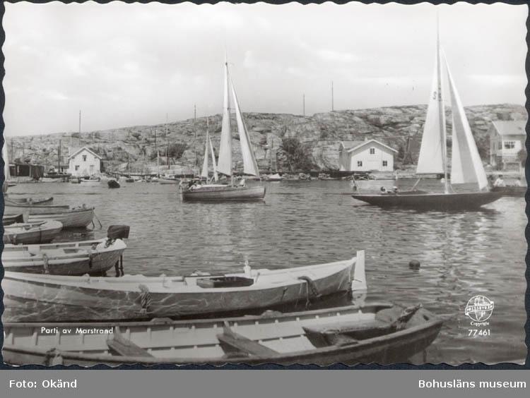 """Tryckt text på kortet: """"Parti av Marstrand."""""""