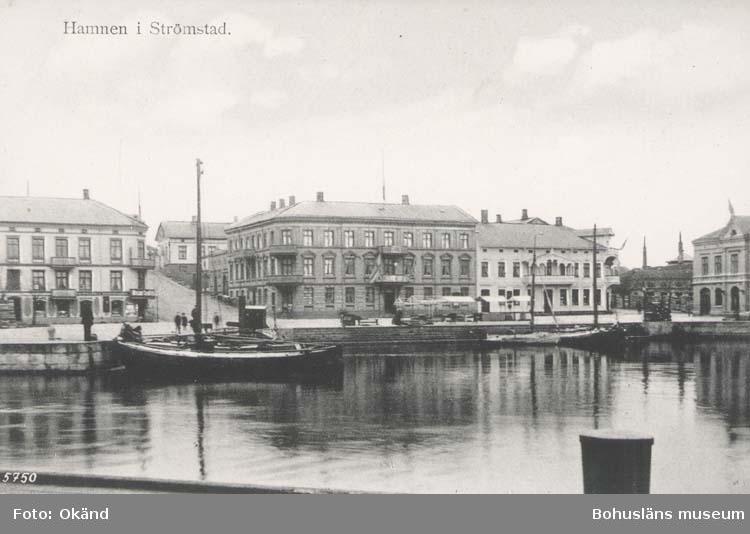 """Vykort. """"Hamnen i Strömstad."""" """"Krügers Cigarraffär, Strömstad."""""""