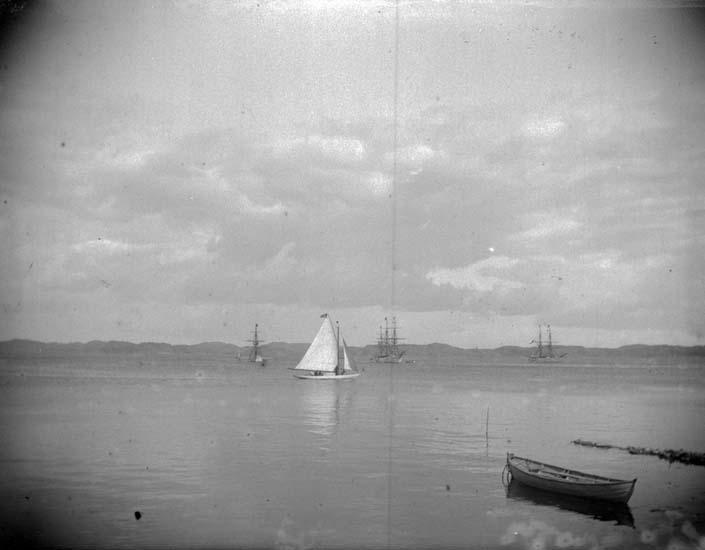 """Enligt text som medföljde bilden: """"Lysekil. Skeppsgossefartygen Najaden, Gladan, Falken 25/6 1899."""""""