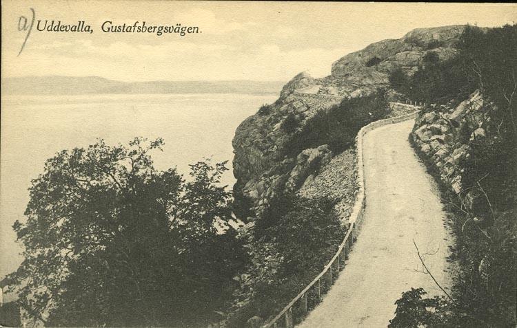"""Tryckt text på vykortets framsida: """"Uddevalla, Gusafsbergsvägen.""""  ::"""