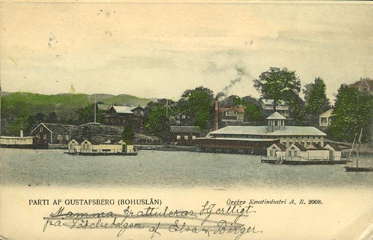 """Tryckt text på vykortets framsida: """"PARTI AF GUSTAFSBERG (BOHUSLÄN).""""  ::"""