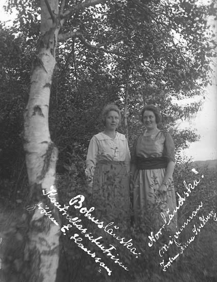 """Enligt text skriven på glasplåten: """"Bohuslänska Kontrollassistenten fröken E. Hansson. Norrländska Mejerinnan Anna Svedberg."""""""