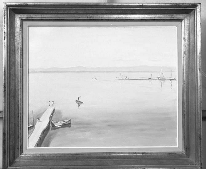 """Enligt medföljande noteringar: """"1949. 18. Inlämnad från Munkedals AB. Munkedal rep. af tafla från Fransk målare."""""""