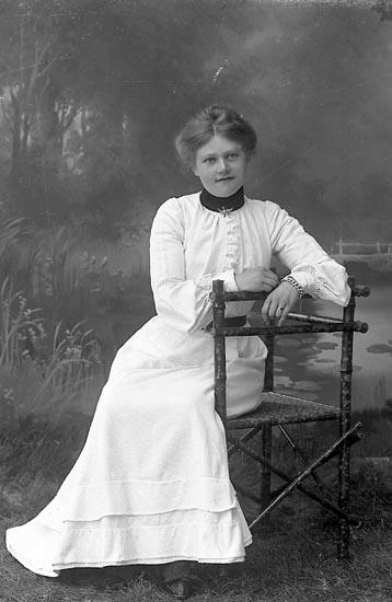 """Enligt fotografens journal nr 1 1904-1908: """"Torell, Fr. Emmy Skåldal Jäger""""."""