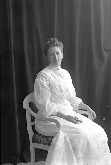 """Enligt fotografens journal nr 1 1904-1908: """"Landberg, Fr. Hilda Högbo Trollhättan""""."""