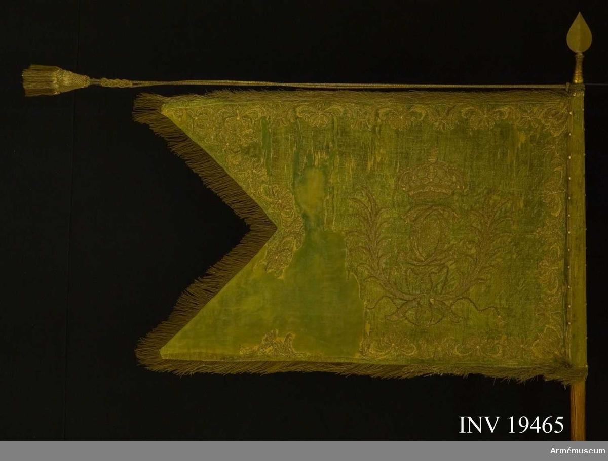 Fanan är tvåtungad, i grönt siden med broderier i silver. I mitten ett kungligt monogram, Carl XII, inramat av lagerkrans broderat i silver och krönt med kunglig krona med riksäpple. Längs kanten löper en broderad bård av lagerkvistar. Fransen var ursprungligen silver och guld. Tofsarna har en stomme av trä med frans i silver och guld. Guld- tråden är tjockare än silvertråden. Fanan är fastsatt längs stången med tre silverband.