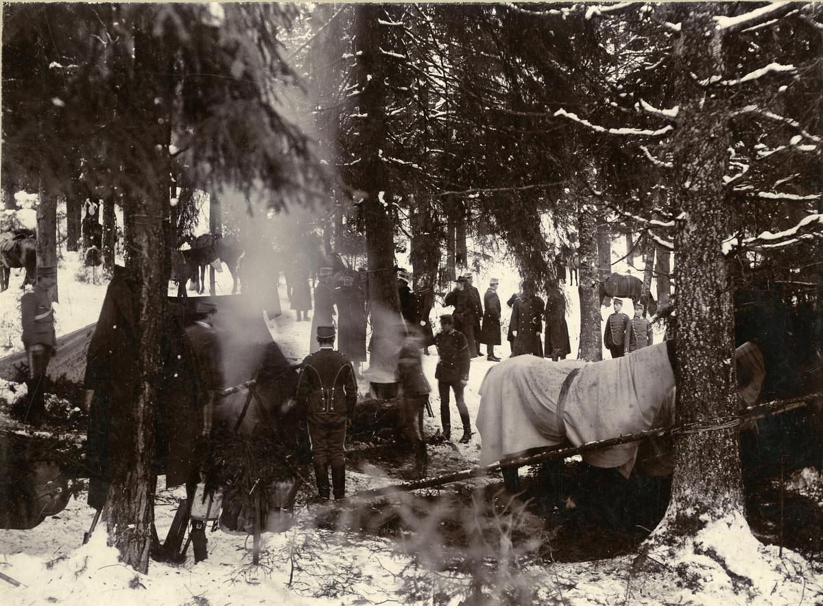 Livregementet till häst K 1 i vinterbivack i skogen. Mitt i bilden syns förbandschef kung Oscar II i samspråk med man, till vänster om dem står en kvinna. I förgrunden lagas mat i kokgrop och en häst står under täcke.