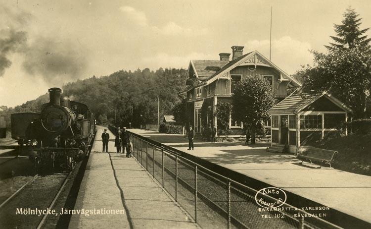 Notering på kortet: Mölnlycke Järnvägsstation