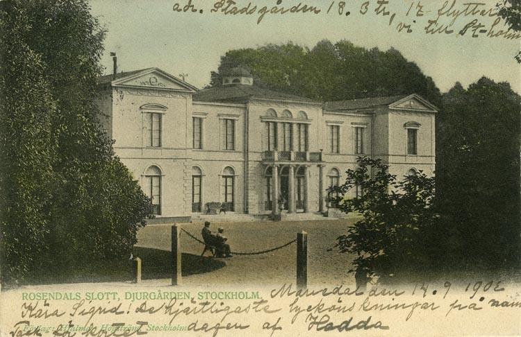 Notering på kortet: Stockholm. Rosendals Slott, Djurgården.