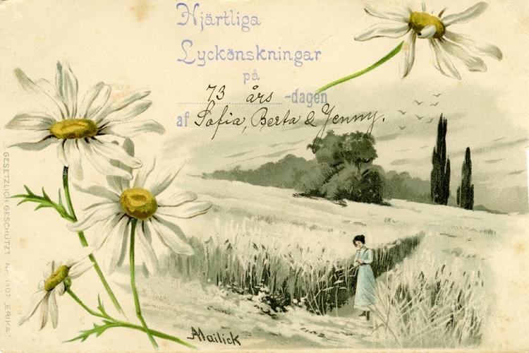Notering på kortet: Hjärtliga Lyckönskningar på 73 årsdagen från Berta & Jenny.