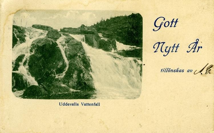 Notering på kortet: Uddevalla Vattenfall. Gott Nytt År tillönskas av