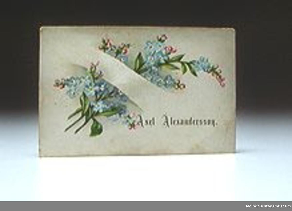 Visitkort med blombukett märkt Axel Alexandersson.Smutsigt.